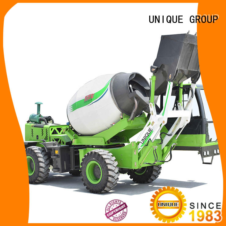 UNIQUE loader self loading concrete mixer mixing to discharge for concrete production