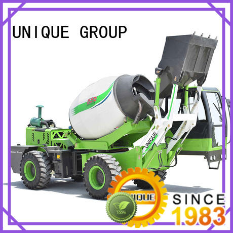 UNIQUE loader self loading concrete mixer mixing to discharge for construction site