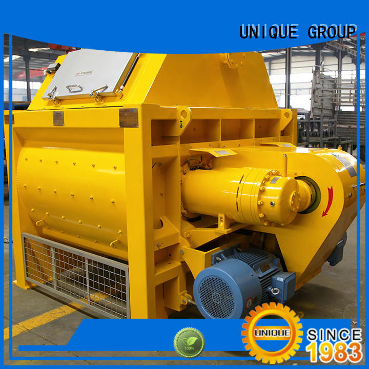 UNIQUE higher efficiency concrete mixing equipment with discharging system for project