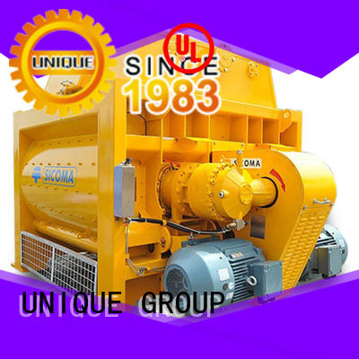 UNIQUE higher efficiency twin shaft mixer with water supply system for concrete products