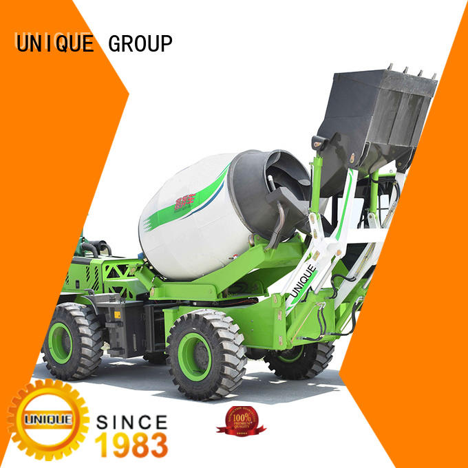 small volume self loading concrete mixer mixing to discharge