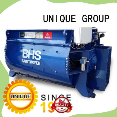 UNIQUE higher efficiency stationary concrete mixer with discharging system