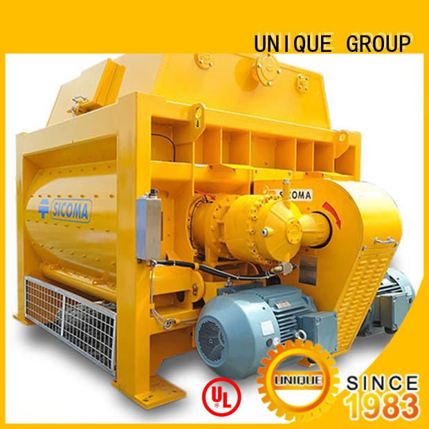 UNIQUE stronger twin shaft mixer with discharging system for project