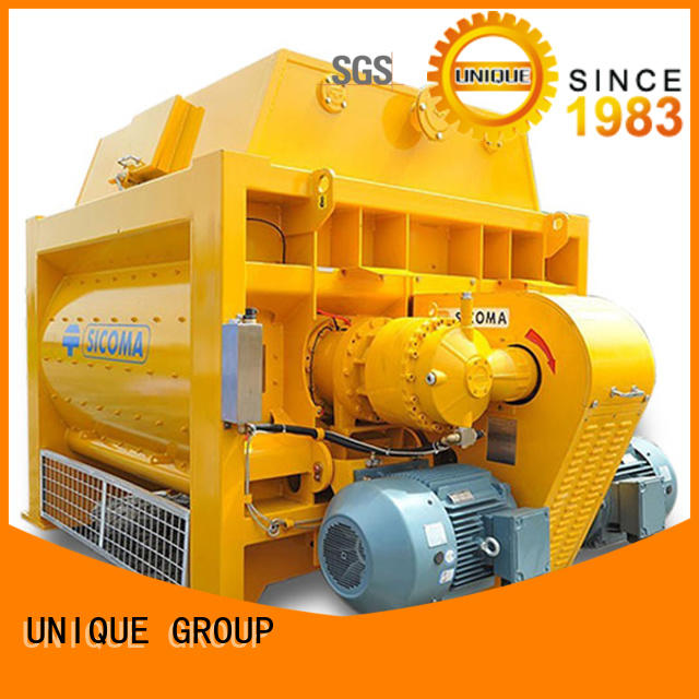 UNIQUE concrete twin shaft mixer with feeding system