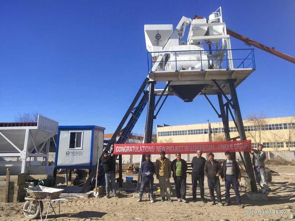 HZS35 Concrete Batching Plant in Uzbekistan